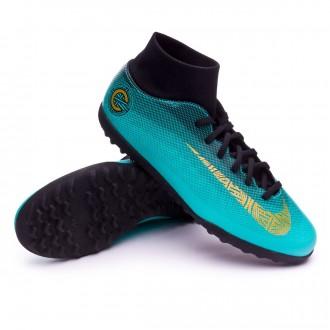 Chaussure de football  Nike Mercurial SuperflyX VI Club CR7 Turf Clear jade-Metallic vivid gold-Black