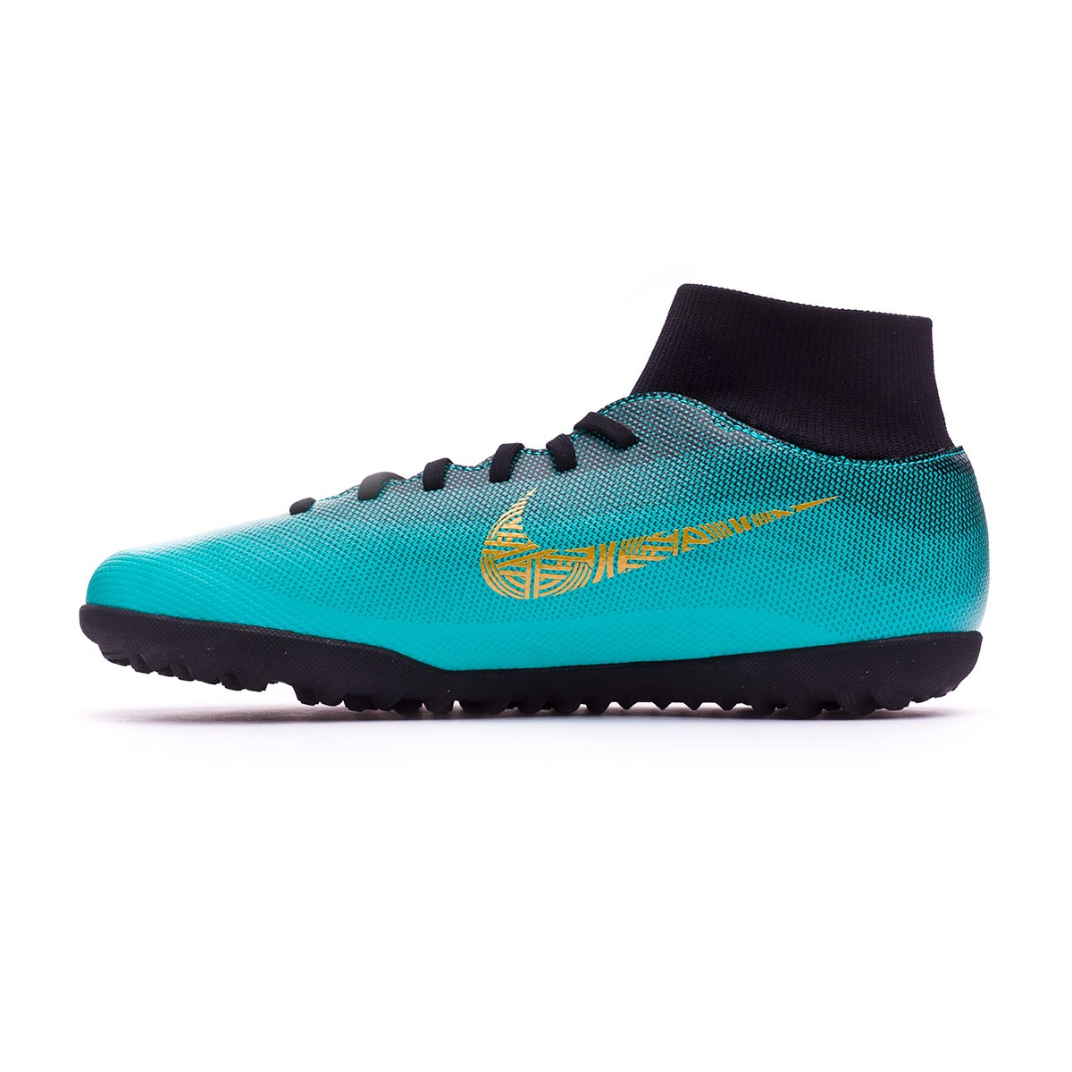 d95f17c58a9 Sapatilhas Nike Mercurial SuperflyX VI Club CR7 Turf Clear jade-Metallic  vivid gold-Black - Loja de futebol Fútbol Emotion
