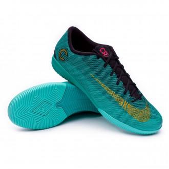 Sapatilha de Futsal  Nike Mercurial VaporX XII Academy CR7 IC Clear jade-Metallic vivid gold-Black
