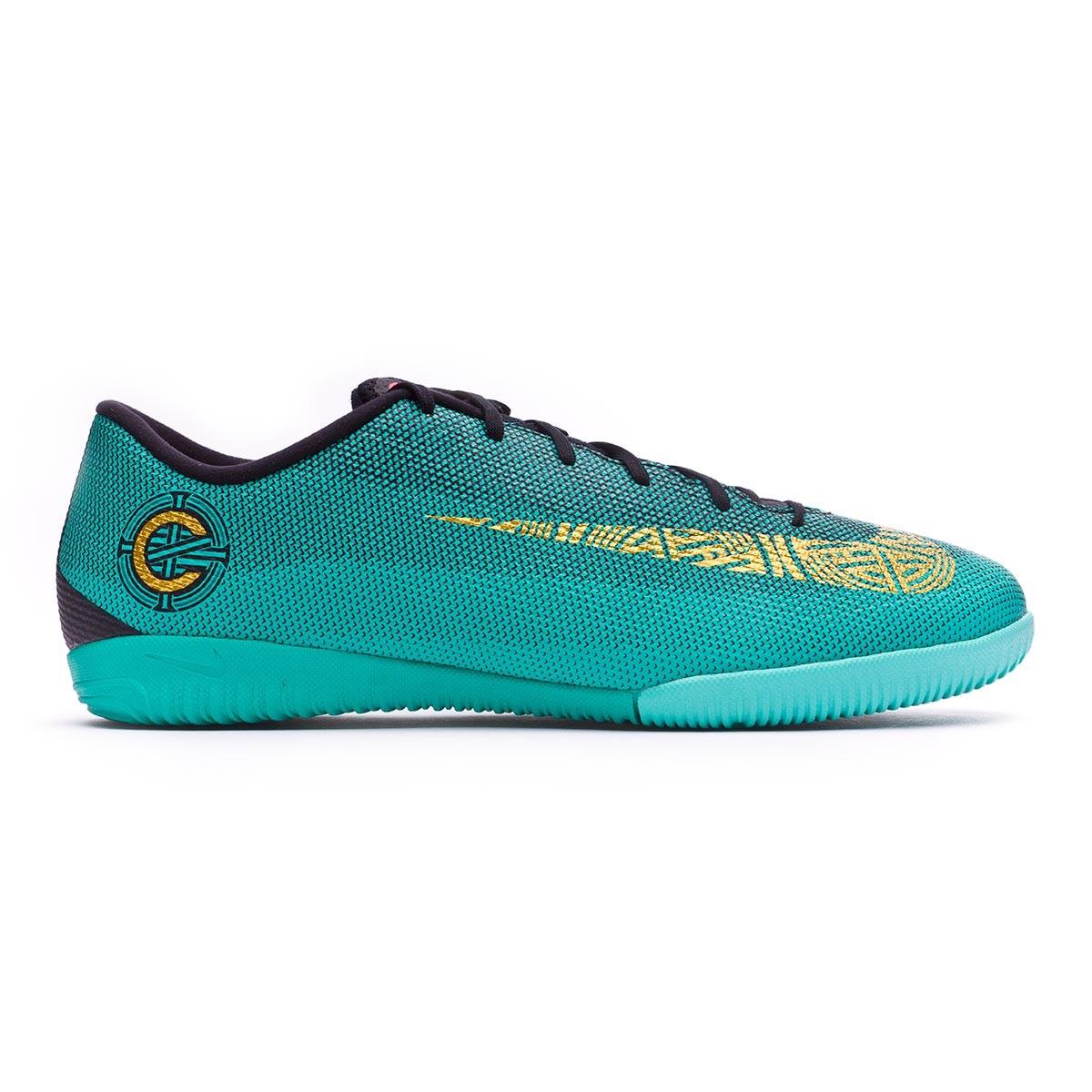 15e7e6a57e7a Futsal Boot Nike Mercurial VaporX XII Academy CR7 IC Clear jade-Metallic  vivid gold-Black - Football store Fútbol Emotion