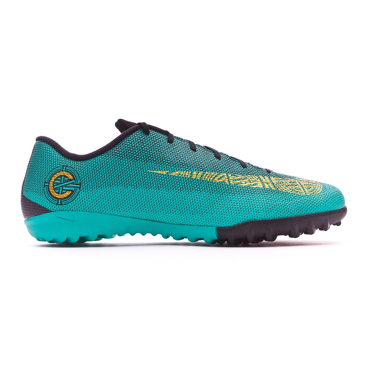 8971d0a2f489 Football Boot Nike Mercurial VaporX XII Academy CR7 Turf Clear jade-Metallic  vivid gold-Black - Tienda de fútbol Fútbol Emotion