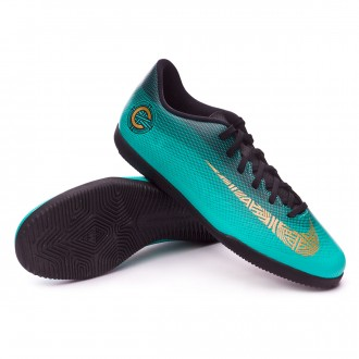 Sapatilha de Futsal  Nike Mercurial VaporX XII Club CR7 IC Clear jade-Metallic vivid gold-Black