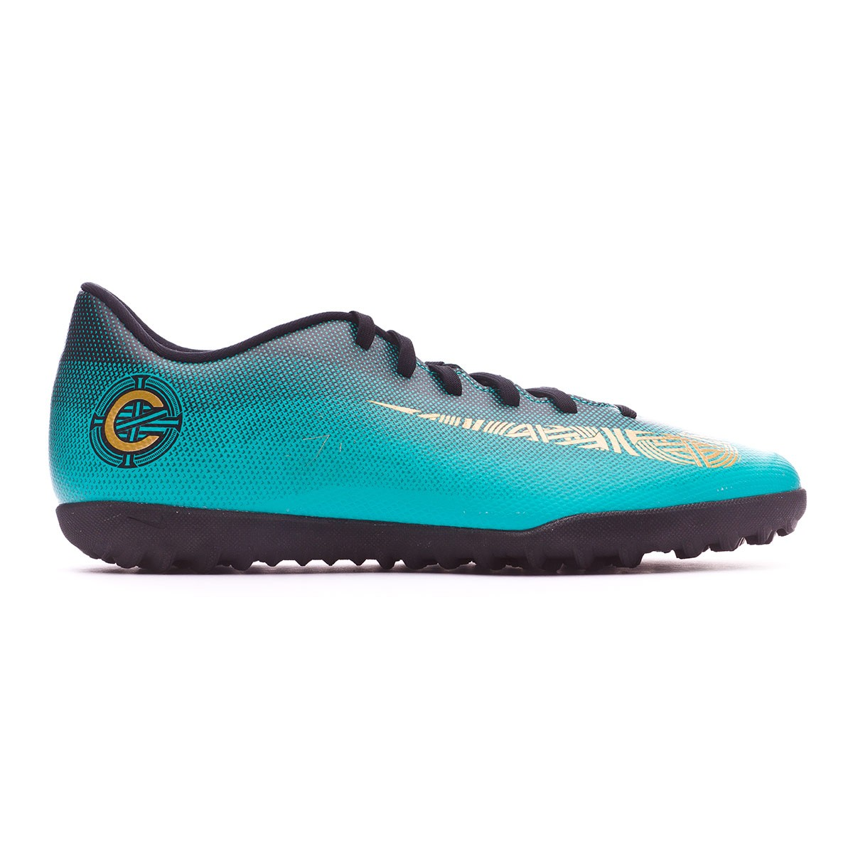 Zapatilla Mercurial VaporX XII Club CR7 Turf Clear jade Metallic vivid gold Black