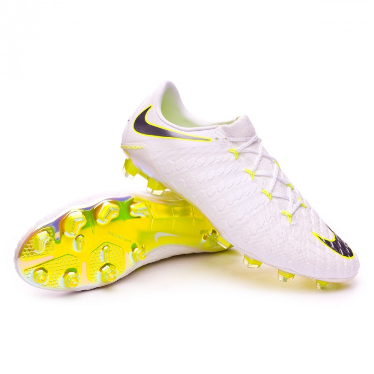 brand new 3a283 79604 Bota Hypervenom Phantom III Elite FG White-Metallic cool grey-Volt-Metallic  cool g
