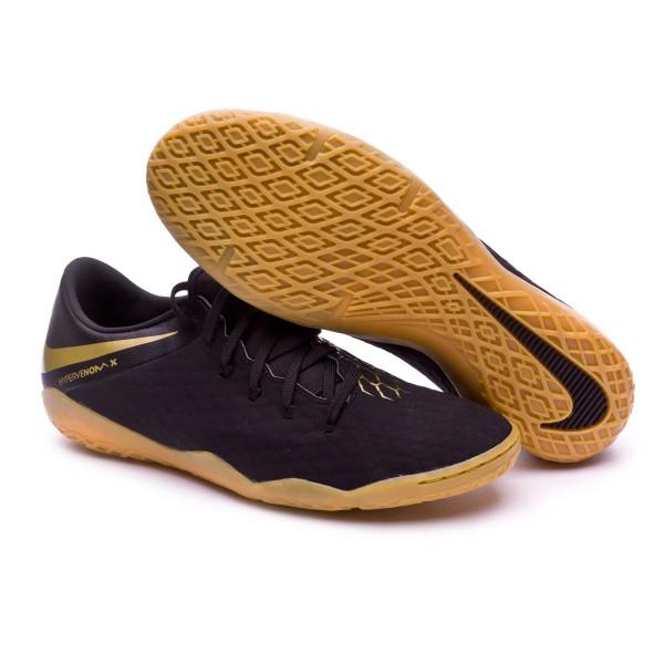 cdf85594ac2 Futsal Boot Nike Hypervenom PhantomX III Academy IC Black-Metallic vivid  gold - Football store Fútbol Emotion