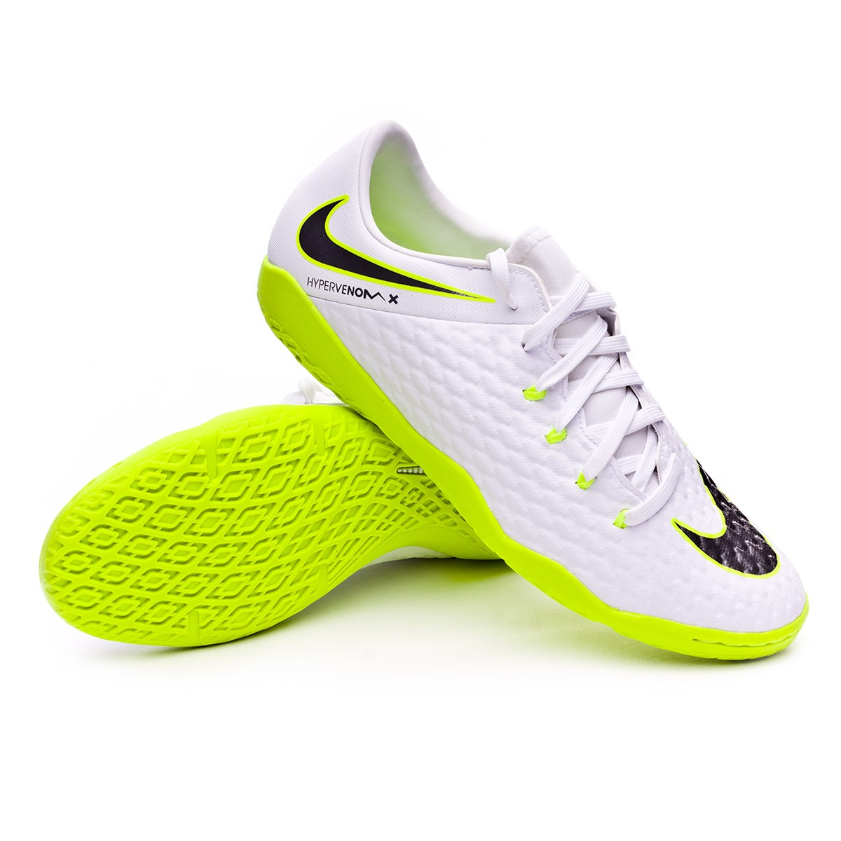 dba6564e3e74 Zapatilla Hypervenom PhantomX III Academy IC White-Metallic cool  grey-Volt-Metallic cool g