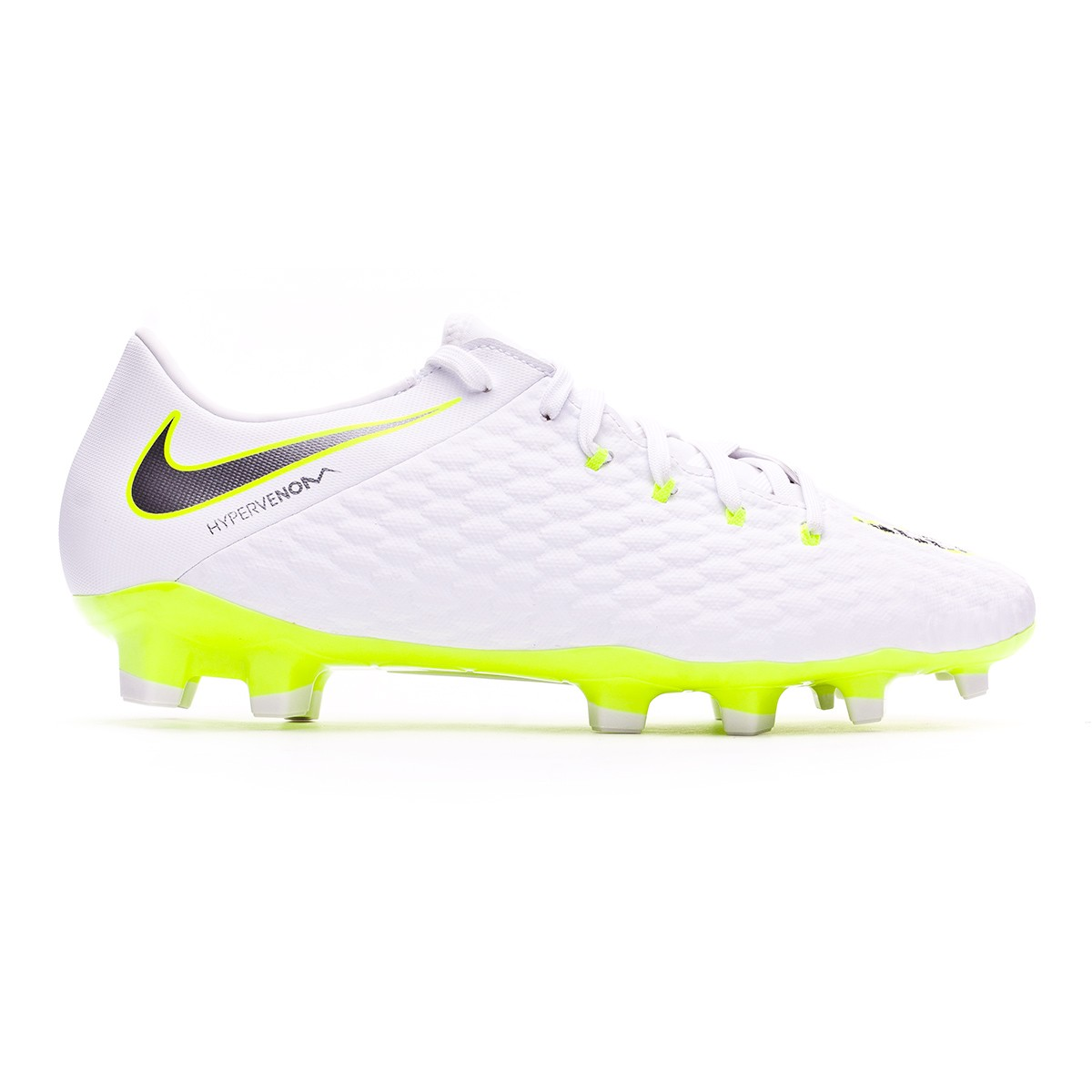 39d2cd137e3ae Chuteira Nike Hypervenom Phantom III Academy FG White-Metallic cool  grey-Volt-Metallic cool g - Loja de futebol Fútbol Emotion