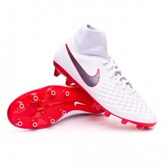 Bota  Nike Magista Obra II Academy DF AG-Pro White-Metallic cool grey-Light crimson