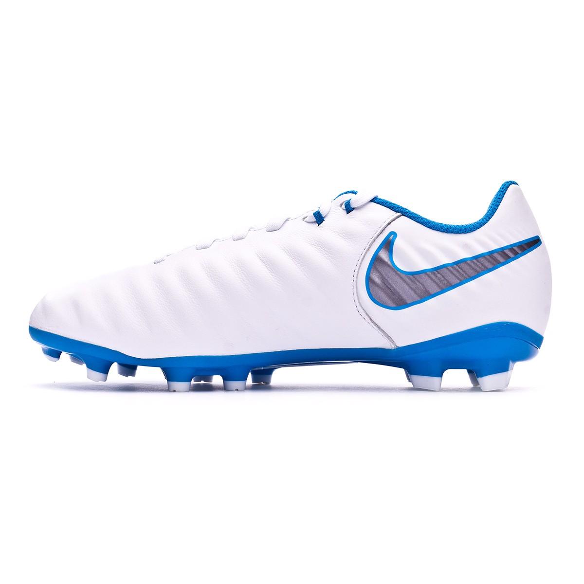 97acbfb2fb6 Football Boots Nike Kids Tiempo Legend VII Academy FG White-Metallic cool  grey-Blue hero - Football store Fútbol Emotion