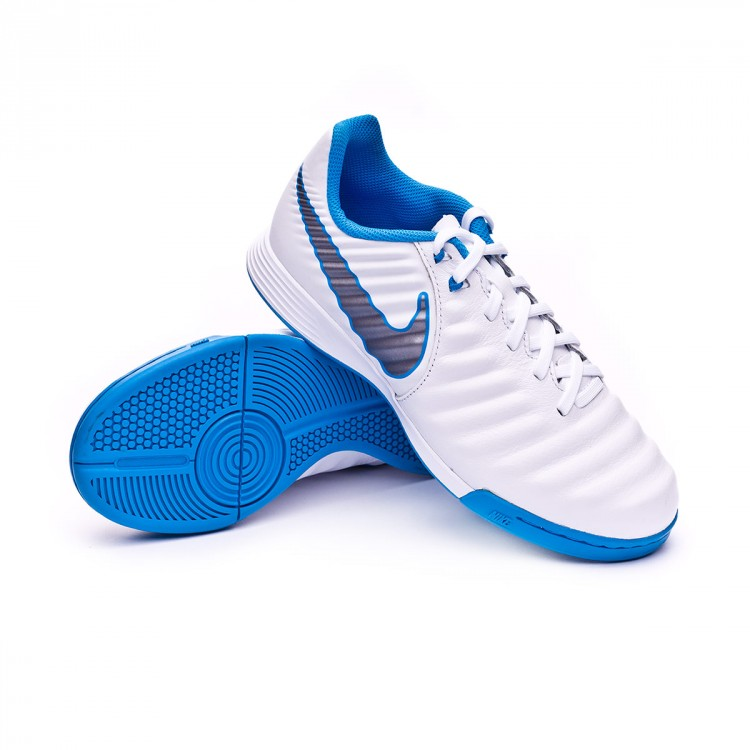 270b7933590 Futsal Boot Nike Tiempo LegendX VII Academy IC Niño White-Metallic ...