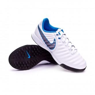 Zapatilla  Nike Tiempo LegendX VII Academy Turf Niño White-Metallic cool grey-Blue hero