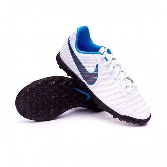 Zapatilla  Nike Tiempo LegendX VII Club Turf Niño White-Metallic cool grey-Blue hero