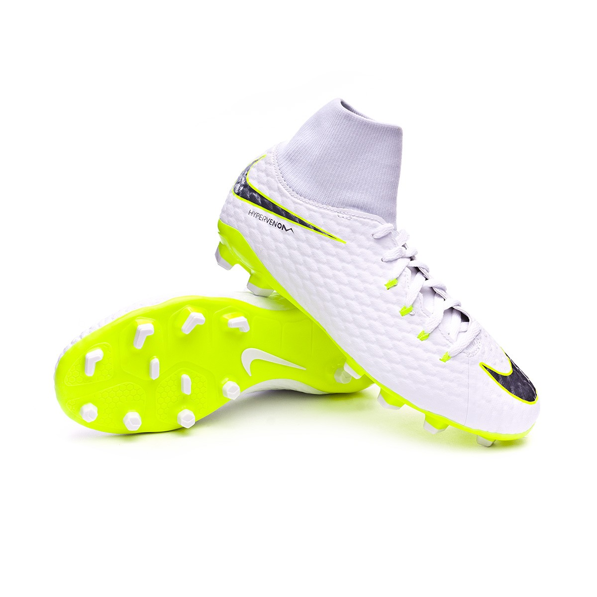 sale retailer d4e42 3f597 Bota Hypervenom Phantom III Academy DF FG Niño White-Metallic cool  grey-Volt-Metallic cool g