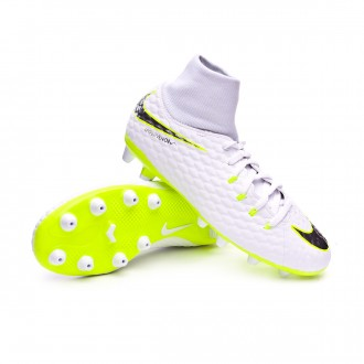 Bota  Nike Hypervenom Phantom III Academy DF AG-Pro Niño White-Metallic cool grey-Volt-Metallic cool g