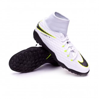 Zapatilla  Nike Hypervenom PhantomX III Academy DF Turf Niño White-Metallic cool grey-Volt-Metallic cool g