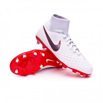 Bota  Nike Magista Obra II Academy DF FG Niño White-Metallic cool grey-Light crimson