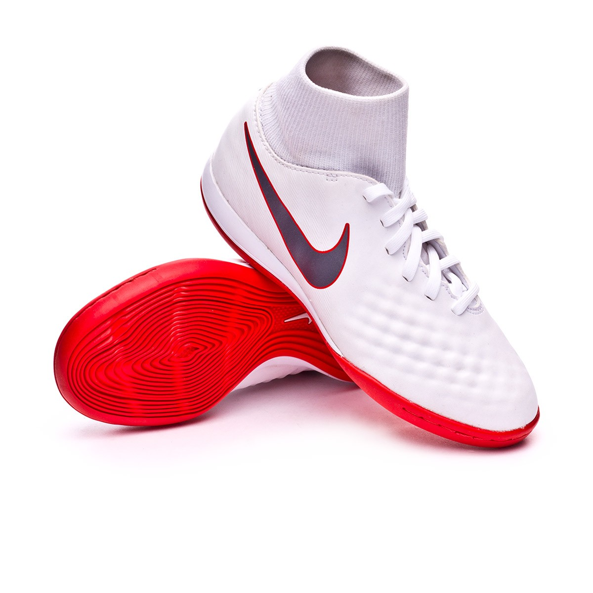 125bc8f86dcff Futsal Boot Nike Kids Magista ObraX II Academy DF IC White-Metallic ...