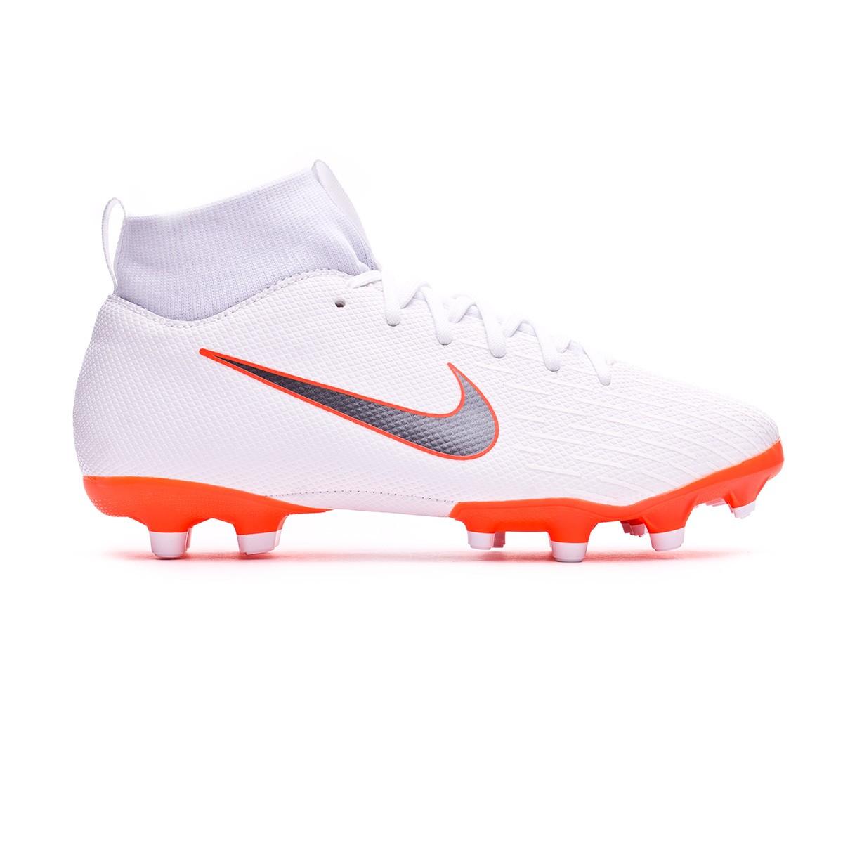 e7621b5af Football Boots Nike Kids Mercurial Superfly VI Academy GS MG White-Metallic  cool grey-Total orange - Tienda de fútbol Fútbol Emotion