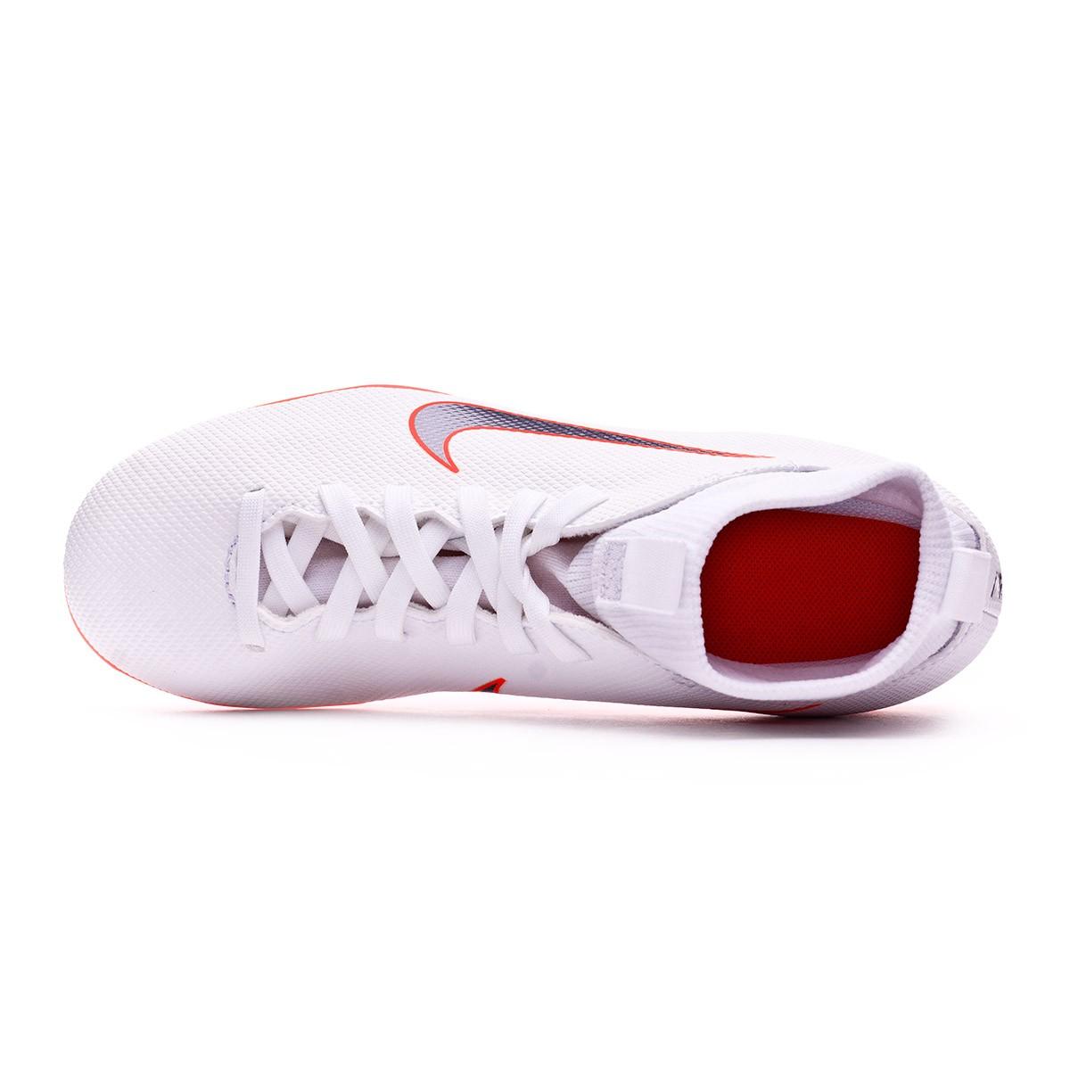 74f26e23542e Football Boots Nike Kids Mercurial Superfly VI Club MG White-Metallic cool  grey-Total orange - Tienda de fútbol Fútbol Emotion