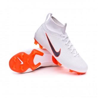 Bota  Nike Mercurial Superfly VI Elite FG Niño White-Metallic cool grey-Total orange