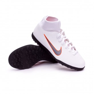 Zapatilla  Nike Mercurial SuperflyX VI Club Turf Niño White-Metallic cool grey-Total orange