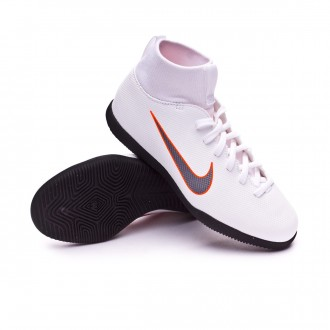 Zapatilla  Nike Mercurial SuperflyX VI Club IC Niño White-Metallic cool grey-Total orange