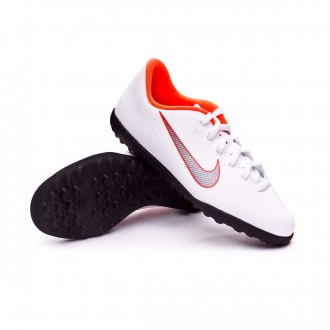 Zapatilla  Nike Mercurial VaporX XII Club GS Turf Niño White-Metallic cool grey-Total orange