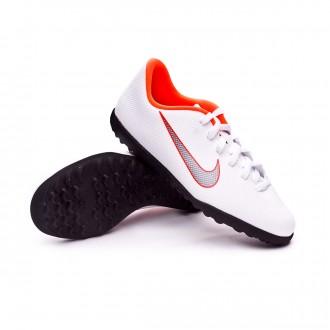 Chaussure de football  Nike Mercurial VaporX XII Club GS Turf enfant White-Metallic cool grey-Total orange