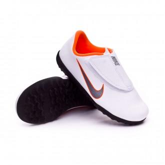 Chaussure de football  Nike Mercurial VaporX XII Club PS Velcro Turf enfant White-Metallic cool grey-Total orange