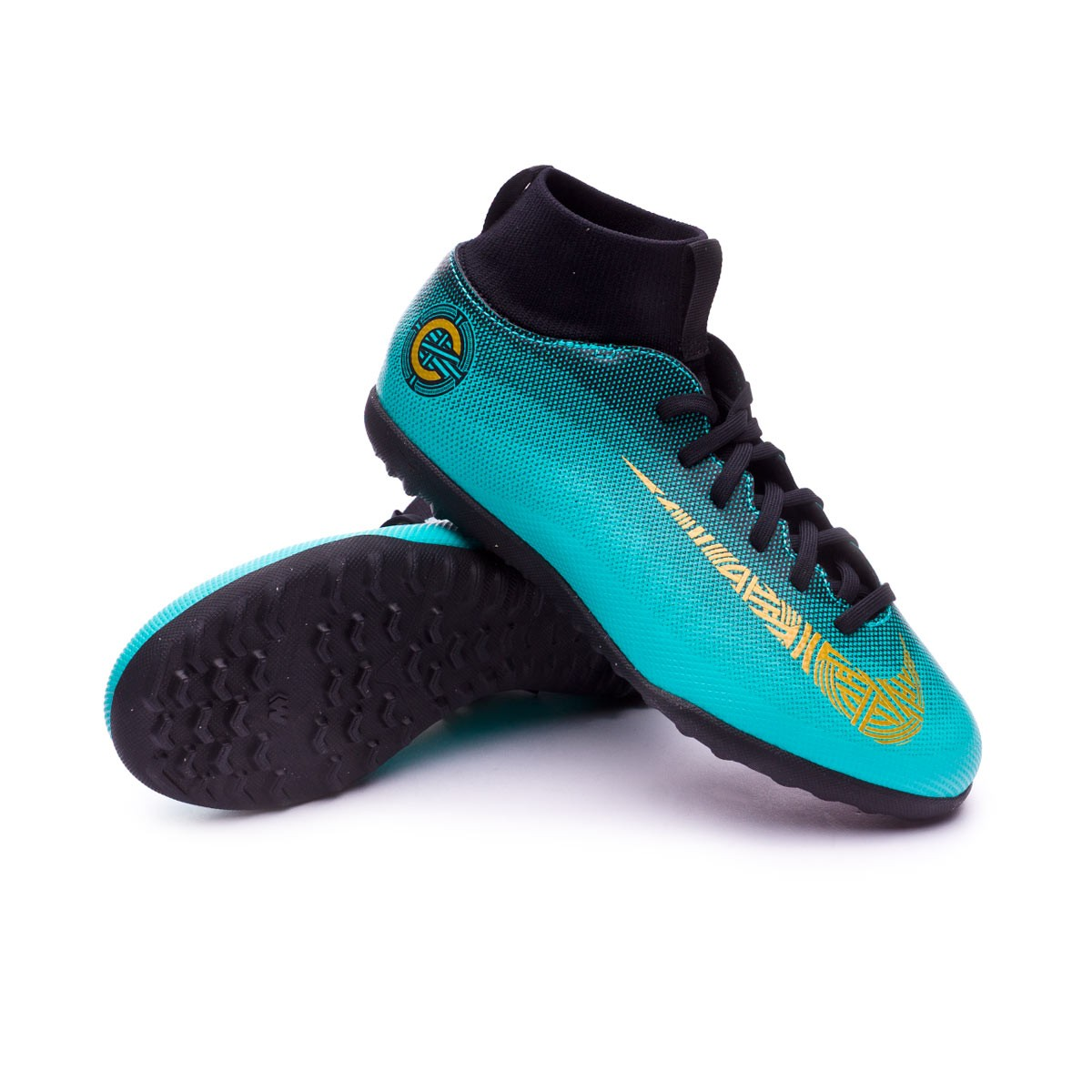 timeless design e2f72 7f8c2 Football Boot Nike Kids Mercurial SuperflyX VI Club CR7 Turf Clear  jade-Metallic vivid gold-Black - Tienda de fútbol Fútbol Emotion
