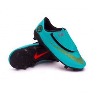 Bota  Nike Mercurial Vapor XII Club PS Velcro CR7 MG Niño Clear jade-Metallic vivid gold-Black