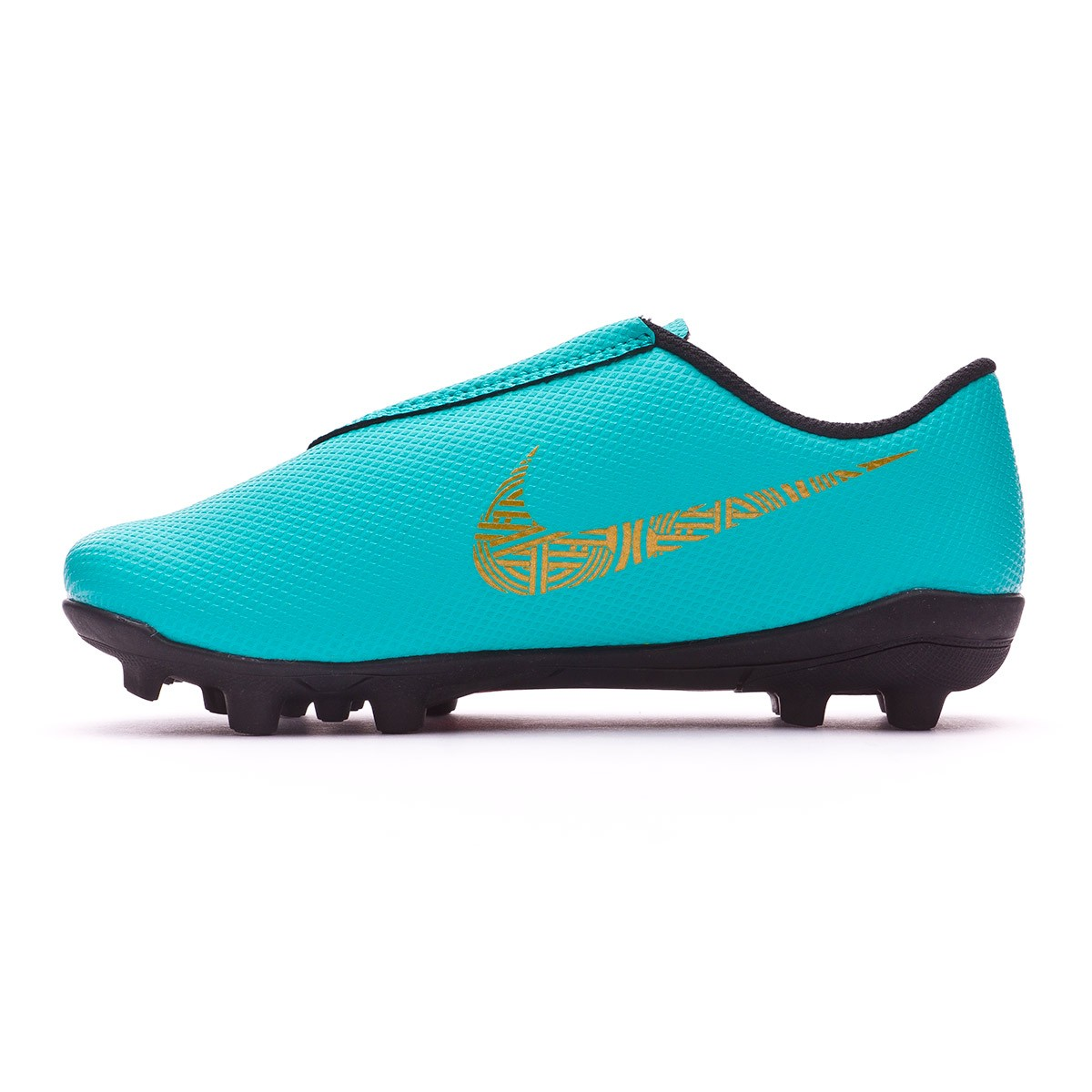 8be139c15 Football Boots Nike Kids Mercurial Vapor XII Club PS Velcro CR7 MG Clear  jade-Metallic vivid gold-Black - Football store Fútbol Emotion