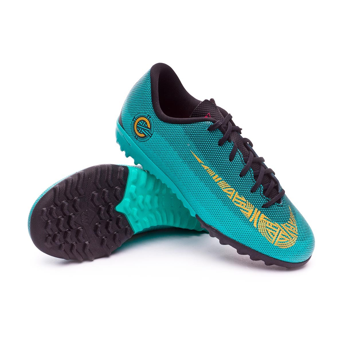 7ed23faf61162 Zapatilla Nike Mercurial VaporX XII Academy GS CR7 Turf Niño Clear  jade-Metallic vivid gold-Black - Tienda de fútbol Fútbol Emotion