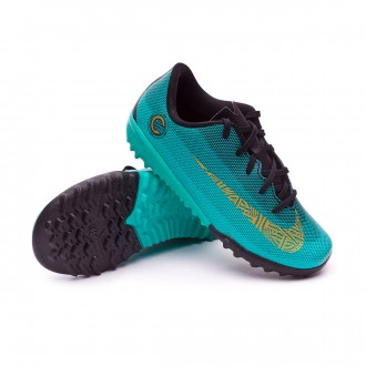 Zapatilla  Nike Mercurial VaporX XII Academy PS CR7 Turf Niño Clear jade-Metallic vivid gold-Black