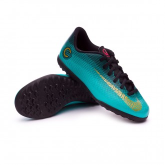 Zapatilla  Nike Mercurial VaporX XII Club GS CR7 Turf Niño Clear jade-Metallic vivid gold-Black