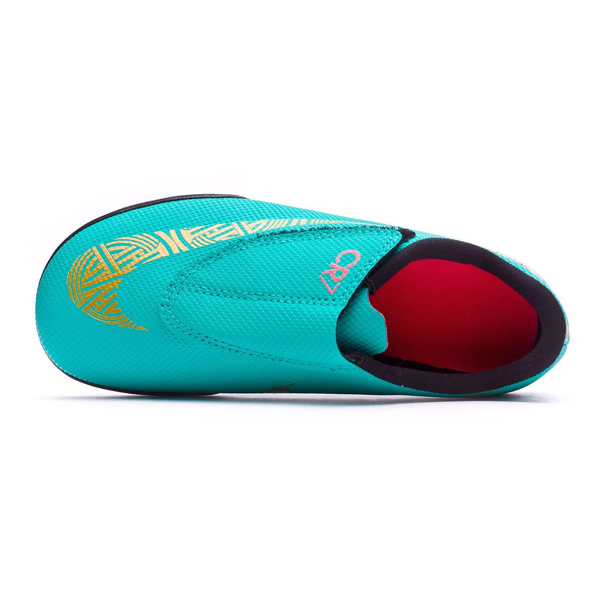 Zapatilla Mercurial VaporX XII Club PS Velcro CR7 IC Niño Clear jade Metallic vivid gold Black