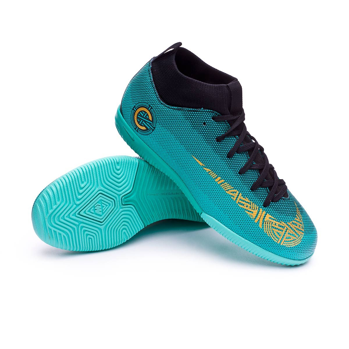 online store 4040c fa56b Zapatilla Mercurial Superfly VI Academy GS CR7 IC Niño Clear jade-Metallic  vivid gold-Black
