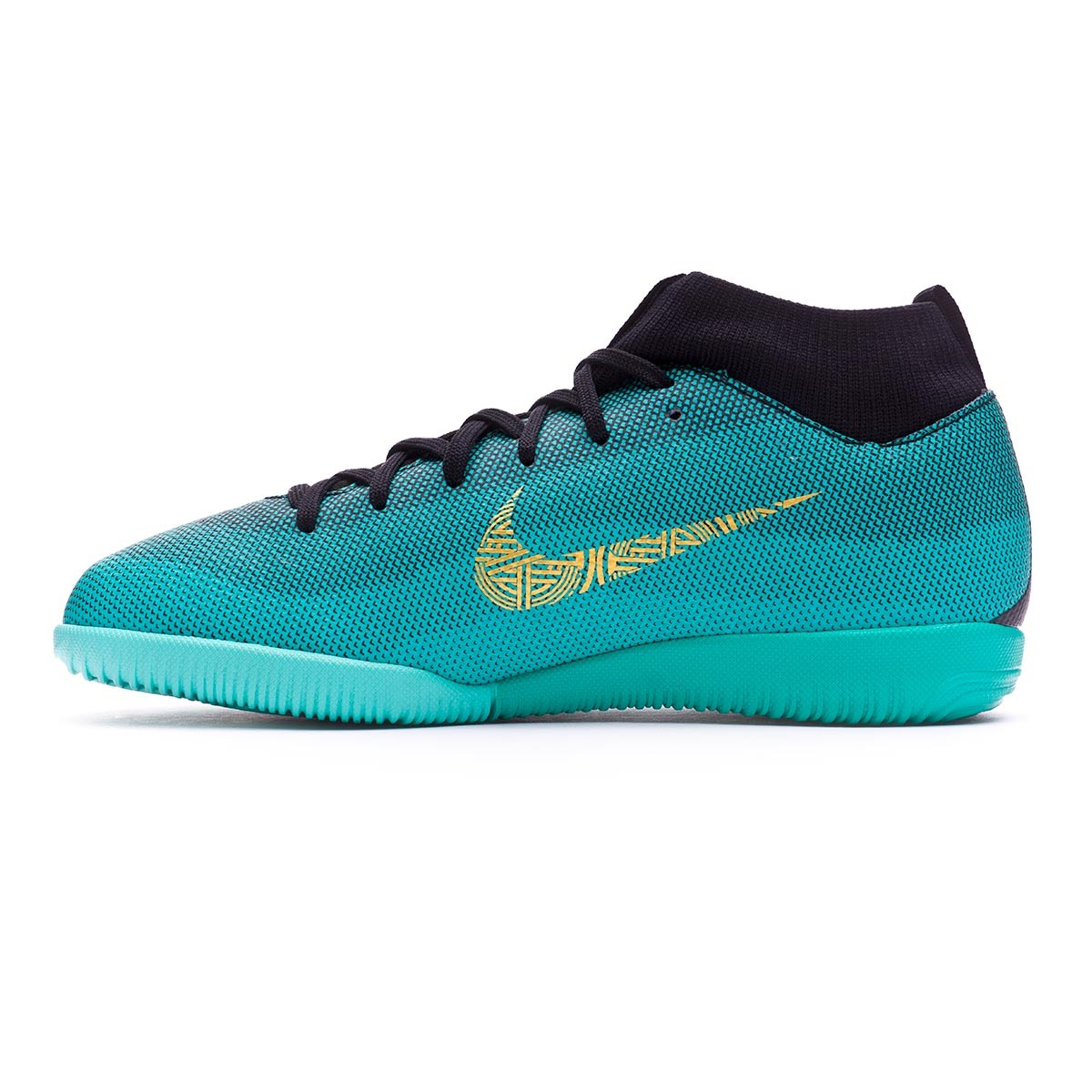 73bbce40486 Futsal Boot Nike Kids Mercurial Superfly VI Academy GS CR7 IC Clear  jade-Metallic vivid gold-Black - Football store Fútbol Emotion