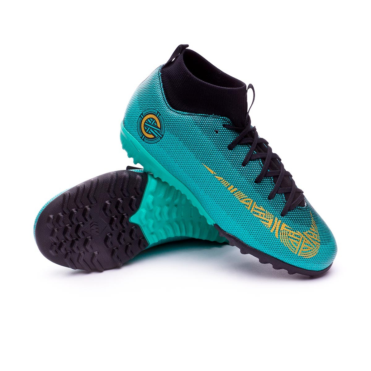 f57448df42bfd Tenis Nike Mercurial Superfly VI Academy GS CR7 Turf Niño Clear  jade-Metallic vivid gold-Black - Tienda de fútbol Fútbol Emotion