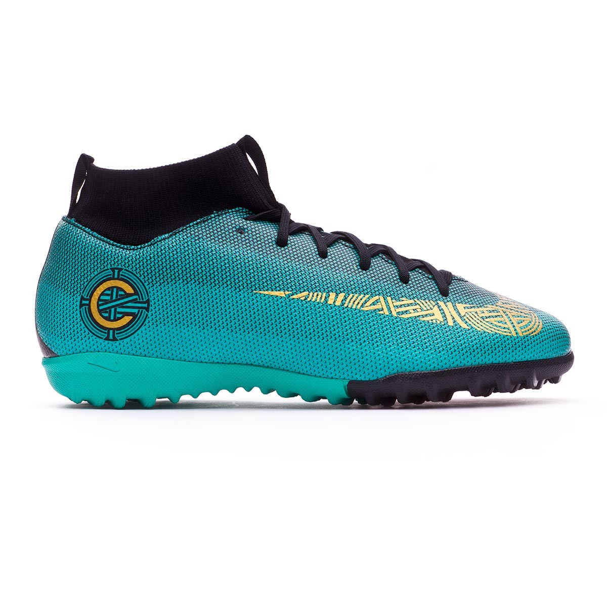 2809ac57cd3f0 Football Boot Nike Kids Mercurial Superfly VI Academy GS CR7 Turf Clear  jade-Metallic vivid gold-Black - Football store Fútbol Emotion