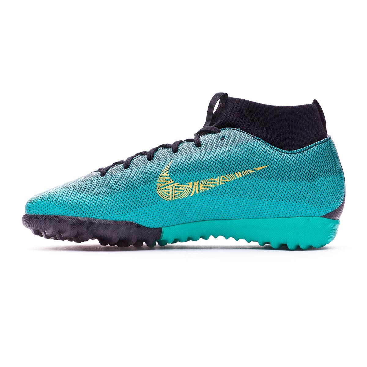 sports shoes ada1e 1ae4d Zapatilla Nike Mercurial Superfly VI Academy GS CR7 Turf Niño Clear  jade-Metallic vivid gold-Black - Tienda de fútbol Fútbol Emotion