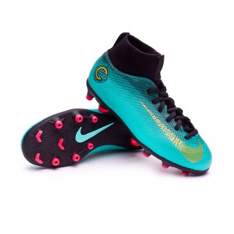 Bota  Nike Mercurial Superfly VI Club CR7 MG Niño Clear jade-Metallic vivid gold-Black