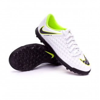 Zapatilla  Nike Hypervenom PhantomX III Club Turf Niño White-Metallic cool grey-Volt-Metallic cool g