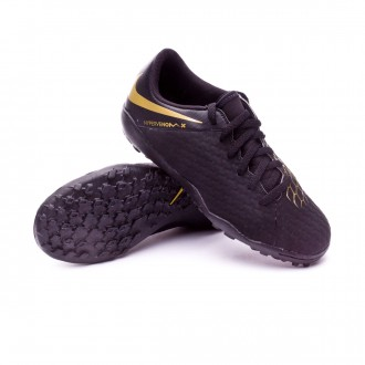 Chaussure de football  Nike Hypervenom PhantomX III Academy Turf Enfant Black-Metallic vivid gold