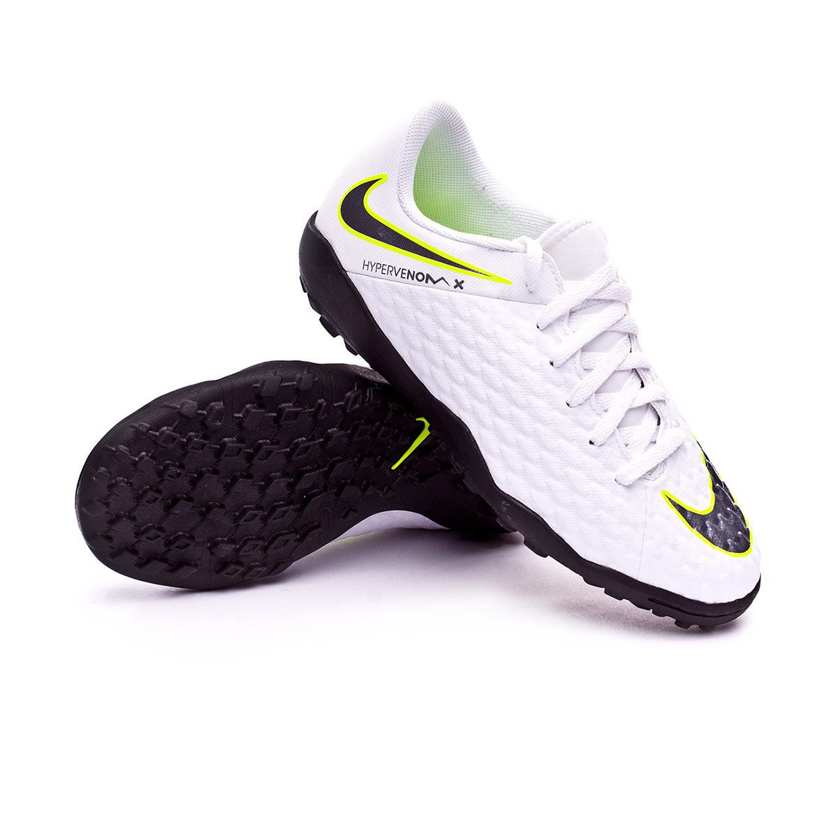 ce134796b Football Boot Nike Kids Hypervenom PhantomX III Academy Turf White-Metallic  cool grey-Volt-Metallic cool g - Football store Fútbol Emotion