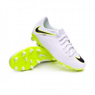 Bota  Nike Hypervenom PhantomX III Academy FG Niño White-Metallic cool grey-Volt-Metallic cool g