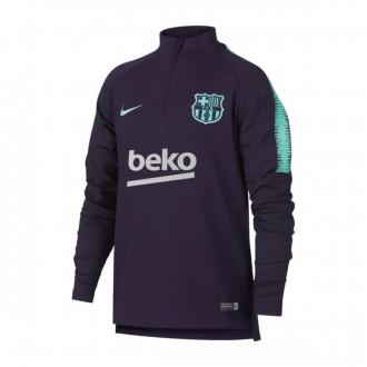 Sudadera  Nike FC Barcelona Dry Squad 2018-2019 Niño Purple dynasty-Hyper turquoise