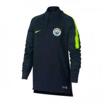 Sudadera  Nike Manchester City FC Dry Squad 2018-2019 Niño Dark obsidian-Volt