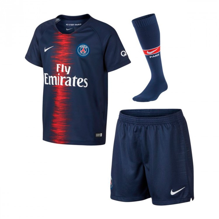 tenue nike paris saint germain domicile 2018 2019 enfant midnight navy white boutique de. Black Bedroom Furniture Sets. Home Design Ideas