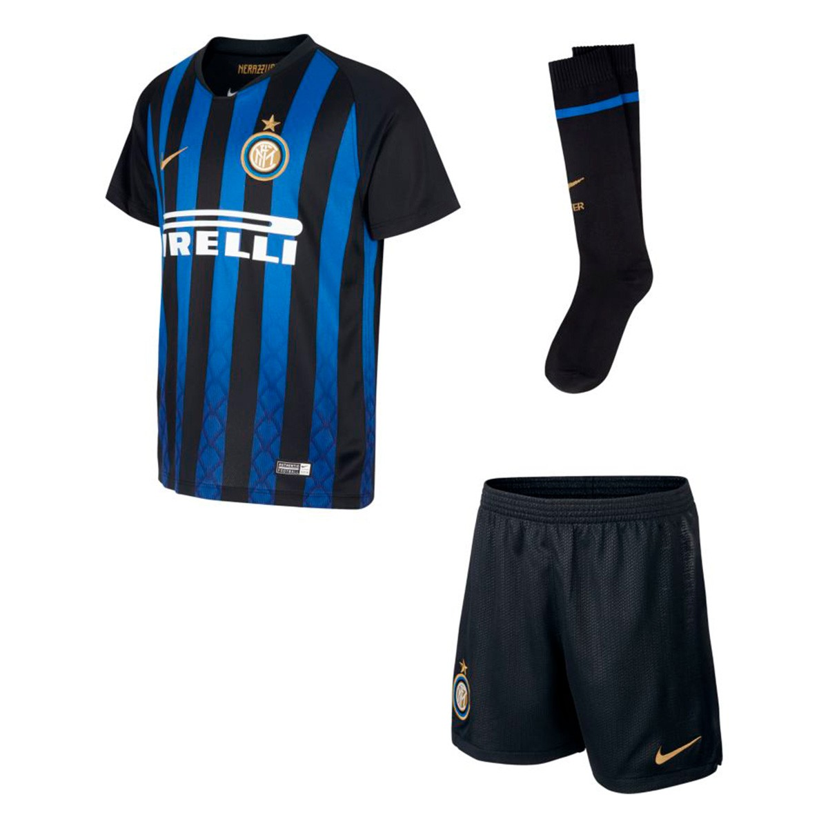 d3f779618b1 Kit Nike Kids Inter Milan 2018-2019 Home Black-Truly gold - Football ...